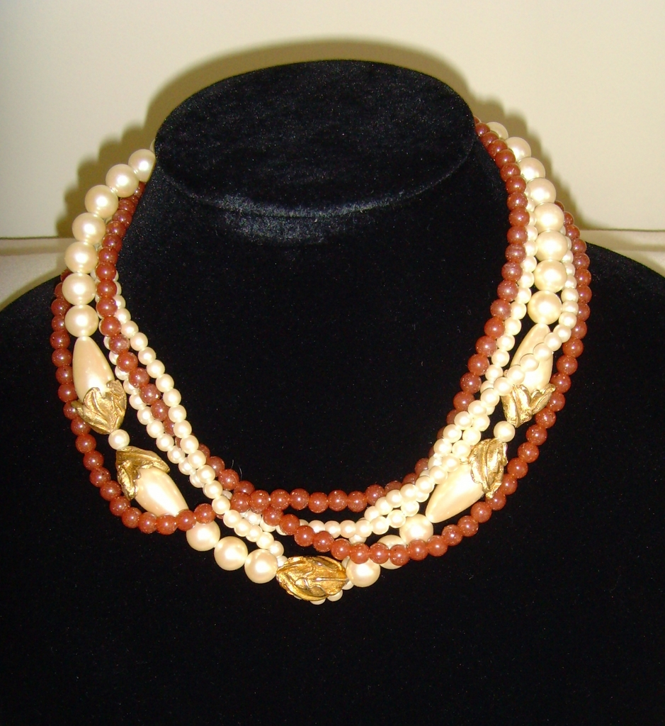Simulated Pearl and Carnelian-Like Stone Five Strand Necklace