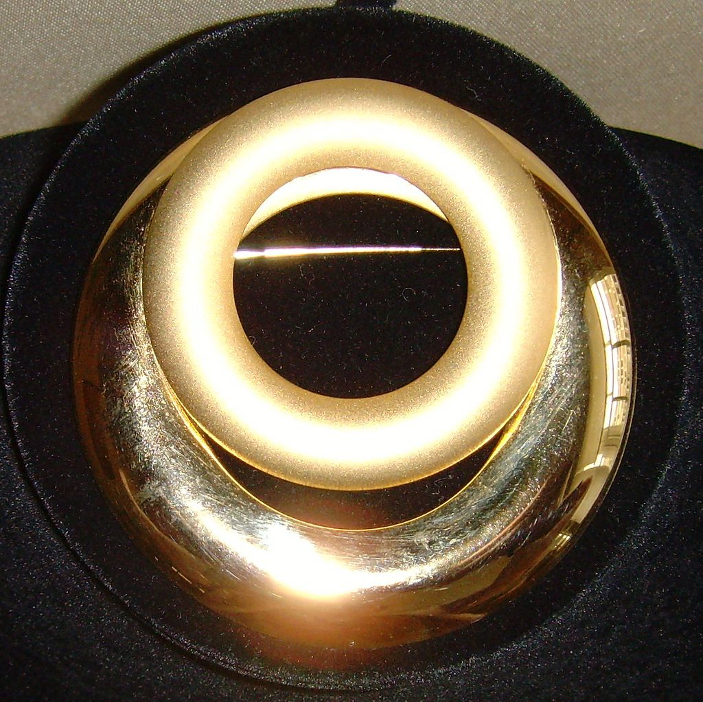 Huge Gold-Tone Dual-Finish Brooch