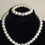 R.J. Graziano Simulated Pearl and Rhinestone Necklace Set