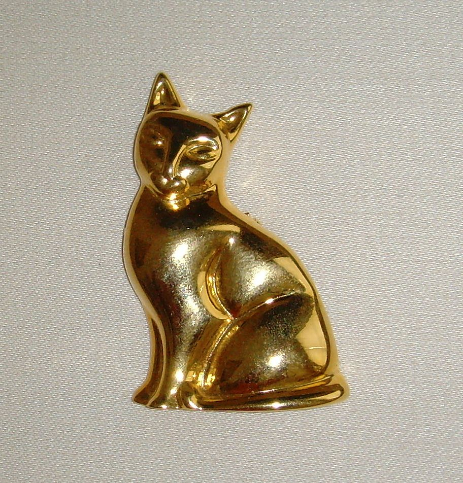 Gold-Tone Kitty Brooch