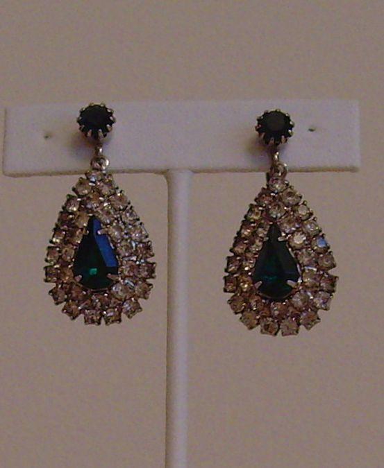 Celebrity Clear and Green Rhinestone Earrings