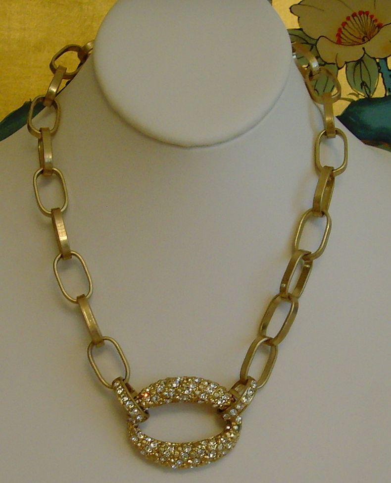 Ann Klein Matte Gold-Tone and Rhinestone Necklace