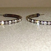 Rhinestone and Gunmetal-Tone Pierced Hoop Earrings