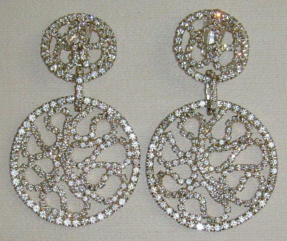 Les Bernard Silver-Tone and Rhinestone Dangle Earrings