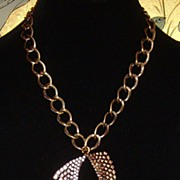Gold-Tone and Rhinestone Pendant Necklace