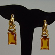 Scaasi Gold-Tone and Faux Topaz Dangle Clip-On Earrings