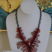 Rhinestone and Black Japanned Necklace and Earring Set