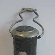 German Antique miniature doll house heating stove Black pewter