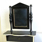 Antique toy miniature furniture  Kestner German Boule antique black  gilt stenciled Dresser