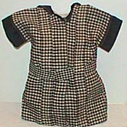 Black plaid pleated antique doll dress with hat