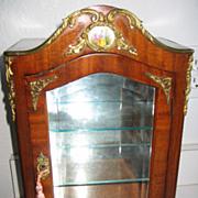 Antique miniature French Mahogany vitrine Austrian porcelain enamel