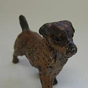 Antique metal miniature brown dog