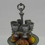 German Antique pewter dolls house tableware centerpiece