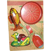 Ohio Art child's vintage tin sand toy original card holder