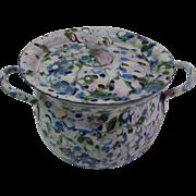 Antique German child's Miniature Confetti end of day enamel graniteware  pot & strainer