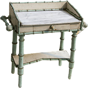 Antique French Faux Bamboo maplewood doll toilette vanity marble top & drawer