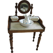 Antique French Doll Dressing Table Marble Top and Mirror porcelain set