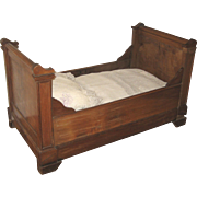 Antique French large doll size wood sleigh bed