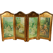 Antique Florentine Italian miniature 4 part folding wood doll screen