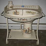 Child's antique French Sarreguemines Kate Greenaway Enfants Richard Roses toilette wash stand set