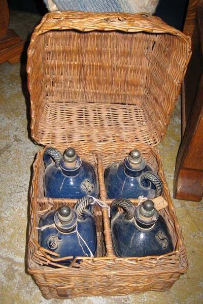 Antique French Traveling wicker bar liquor cobalt blue pottery jug set