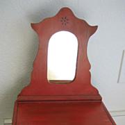 Victorian antique red cottage stenciled doll dresser with mirror