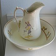 Antique Kate Greenaway French Sarreguemines Enfants Richard pitcher & bowl set