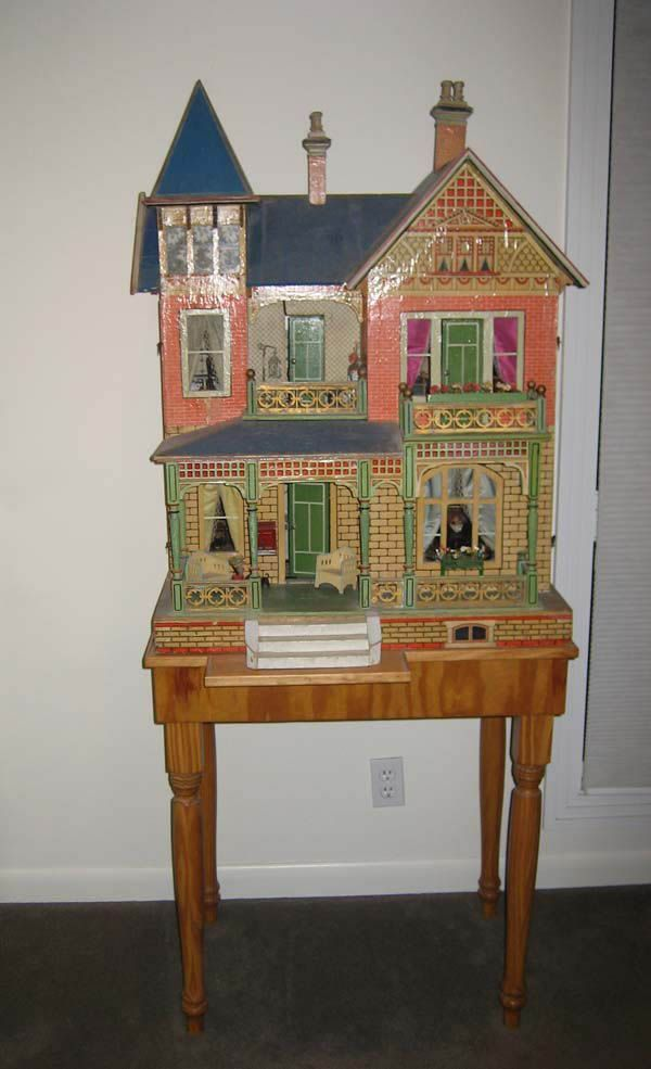 Large Antique German Gottschalk mansion Blue Roof doll house