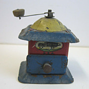 Antique German Tin litho miniature coffee grinder penny toy