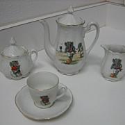German Sporting Elephants antique toy tea set