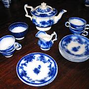 Victorian Child's antique Minton Flow Blue toy tea set c1850