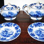 Victorian Child's antique Flow Blue tea set serving pieces