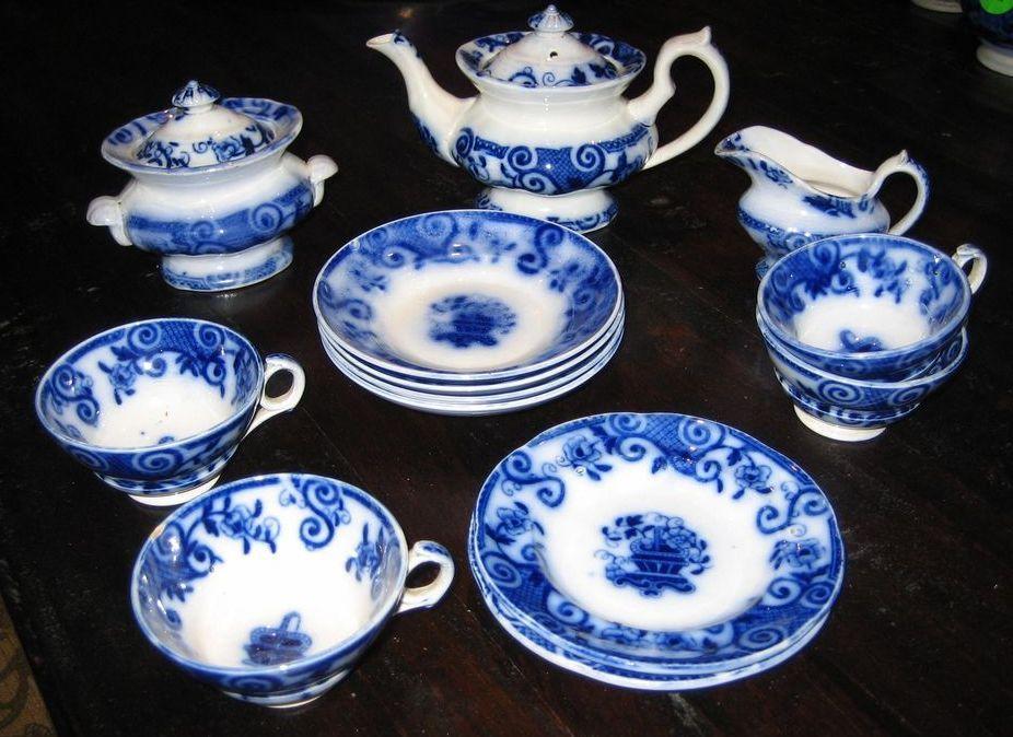 Antique Basket  English Flow Blue Child's tea set c1850