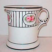 Antique Nippon shaving mug pink floral & black