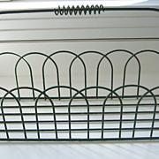 Antique green painted metal garden open work carrier tray
