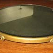 Antique beveled gilt metal plateau large display mirror