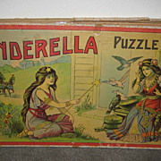 Antique Cinderella Puzzle box set of 3 puzzles Signed Milton Bradley