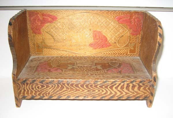 Antique Pyrography wood toy box large bench candy container