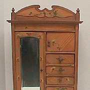 French Toile floral painted antique doll miniature mirrored armoire