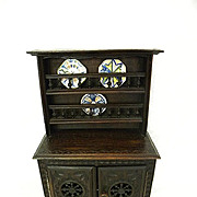 Antique French Quimper Brittany Brenton carved wood miniature Vaisselier doll stepback cupboard