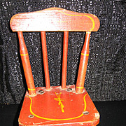Antique doll wood red stenciled chairs