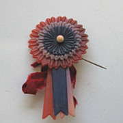 Victory WW 2 Antique celluloid patriotic red white blue victory pin