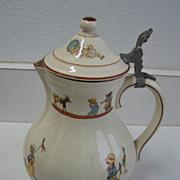Child's antique French Sarreguemines Kate Greenaway  Enfants Richard  pitcher
