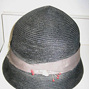 Vintage child's blue straw hat with band & floral trim Elbas NY