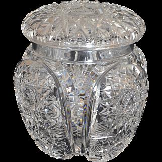 Hawkes Chrysanthemum Pattern cut glass covered jar