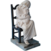 Antonio Frilli signed marble sculpture of a woman and child sitting in  a bronze chair