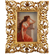 """Victorian painting on porcelain of a lady titled """"Waiting"""""""