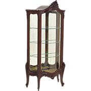 SALE Heavily Carved Serpentine Front Mahogany Curio Cabinet