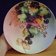 Antique Limoges Handpainted Fruit Bowl with Blackberries