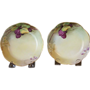 Handpainted Haviland Dessert Bowls with Blackberries